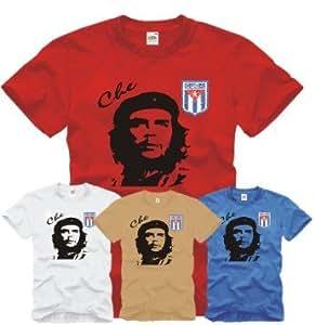 Che Guevara T-Shirt mit gesticktem Cuba Wappen S-XXL S-XXL blau S