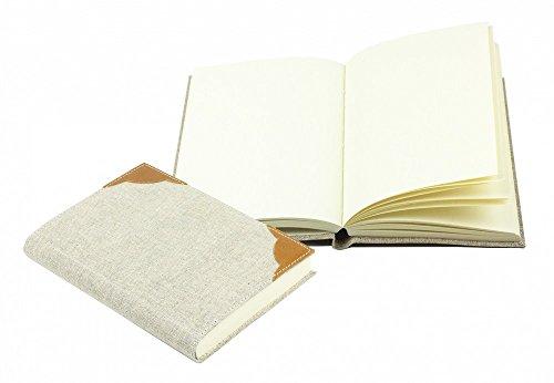 DELMON VARONE Notizbuch DIN A6 (gebunden) Canvas Kombination aus Leinen und Leder cuoiobraun