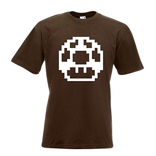 KIWISTAR - Pixel 1 Up Extraleben T-Shirt in 15 verschiedenen Farben - Herren Funshirt bedruckt Design Sprüche Spruch Motive Oberteil Baumwolle Print Größe S M L XL XXL Chocolate
