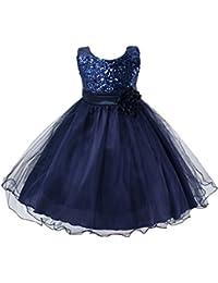 EXIU Bébé Filles Robe de Princesse Mariage Paillettés Fleurs 0-24 Mois