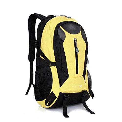 LQABW Wasserdicht Männer Mountaineering Frauen Schultern Sport Reise Studenten Tasche Wandern Polyester Atmungsaktiv Rucksack 30L Yellow