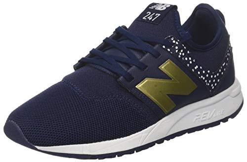 New Balance Damen 247v1 Sneaker, Blau (Pigment/Gold Ha), 40 EU