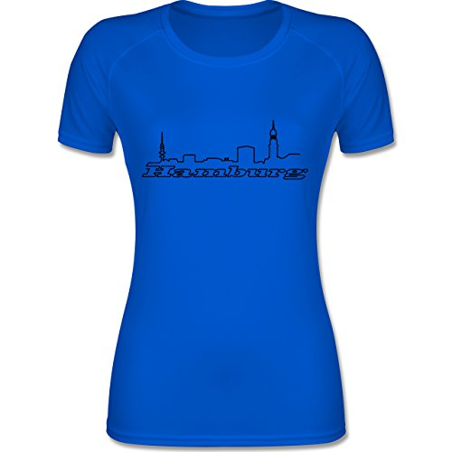 Shirtracer Skyline - Hamburg Skyline - XL - Royalblau - F355 - atmungsaktives Funktionsshirt für Damen