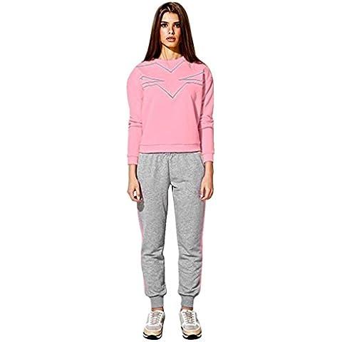 Sudadera Vovotrade Mujeres camiseta O Neck manga larga blusa camisa + Pantalones