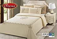 Luxury Bedding Set 6pcs King Size (Embroidery) 100% Cotton - 1* Duvet Cover, 1* Fitted Sheet, 2* Pillow Sham,