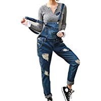 yunhou Mujer Peto Elegante Casual Largo Suelto Mono Tirantes Oficina Bolsillos Pantalones Vaqueros Rotos