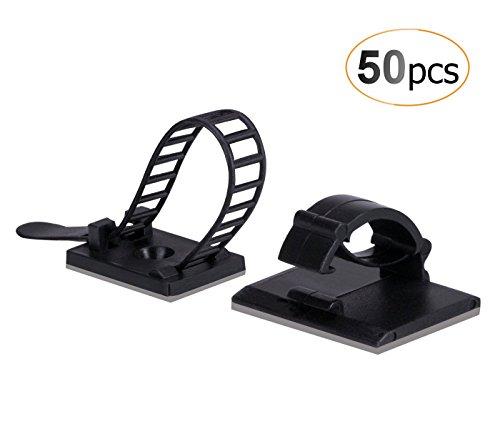 AGPTEK 50/Pack Combinación de Organizador para Cables (25 Unidades Ajustable Cable Tie Monte Adhesivo + 25 Clips de Cable autoadhesivos), Color Negro