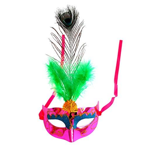 Liying Maske- Jahrestagung Maske Maskerade Kind Erwachsene Dame Half Face Single Pfauenfeder Federmaske (Farbe : Rose rot, größe : 17x34cm)