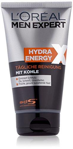 empfindliche mischhaut mit unreinheiten L'Oreal Men Expert Hydra Energy X Tägliche Reinigung, mit Kohle, gegen Hautunreinheiten, 150 ml