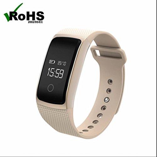 Smart Armband Schrittzähler Fitness Powerarmbänder,Fitness Tracker,Gesundheit Armbanduhr,Kalorienzähler,Push Benachrichtigung,Herzfrequenz-Messgerät,Touch Screen,Sport uhr,Elegantes aussehen für iPhone Samsung Smartphone