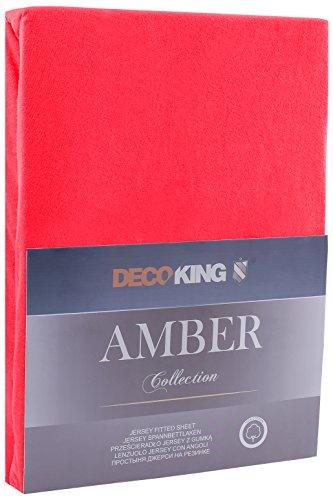 DecoKing 18033 80x200-90x200 cm Spannbettlaken rot 100% Baumwolle Jersey Boxspringbett Spannbetttuch Bettlaken Betttuch Red Amber Collection - 2