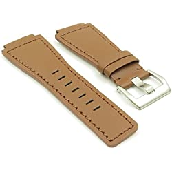 DASSARI Magnum Tan Brown Genuine Leather Watch Band for Bell & Ross size 24mm