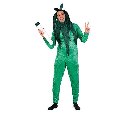 Kostüm Cannabis Pflanze Gr. M- XL Overall grün Hanf Garten Fasching (Medium)