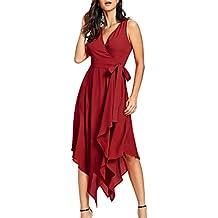4fe057cd0 Vestido Rojo Asimetrico - Amazon.es