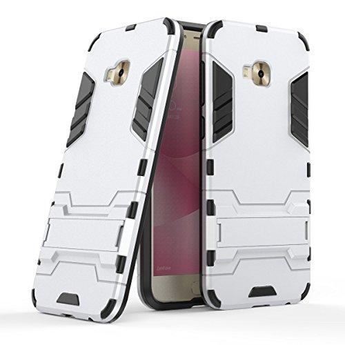 Ougger Handyhülle für Asus Zenfone 4 Selfie Pro ZD552KL Hülle Schale Tasche, Schutz Schon [Video-Standfuß] Leicht Armor Hülle Schutz SchutzHülle Cover Hart PC + Soft TPU Gummi Haut Silber