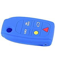 beler Blue Silicone 5 Buttons Remote Key Fob Cover Case Shell Holder