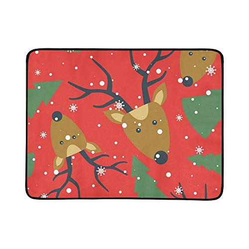 Fir Multi Color Christmas Tree (EIJODNL Deers Fir Trees Snow Portable and Foldable Blanket Mat 60x78 Inch Handy Mat for Camping Picnic Beach Indoor Outdoor Travel)