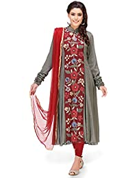 68cf6bbb893a Utsav Fashion Hand Embroidered Cotton Dobby Anarkali Suit in Grey