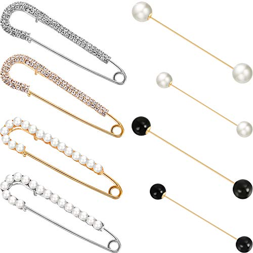 meekoo 8 Stücke Doppel Faux Perle Brosche Pins Faux Kristall Schal Clips für Damen Mädchen Kleidung Dekoration