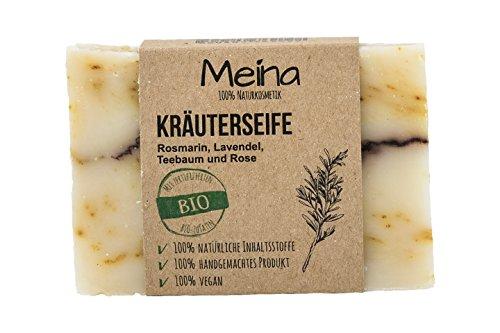 Meina Naturkosmetik - Seife mit Rosmarin, Lavendel und Teebaum (1 x 110 g) 100% natürliche, vegane, handgemachte Bio Naturseife - Körperpflege und Gesichtspflege