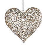 Silver Daisy Hanging Heart Decoration - Perfect Shabby Chic Home Decoration Accessoties - Hanging Heart Door Decorations is Cute Accessories for Home - Heart Decoration for Home Living Room