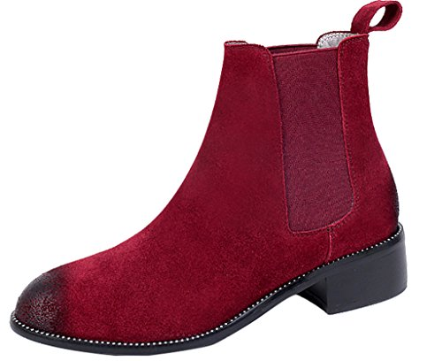 ELEHOT Donna Eleeast tacco western 3CM Leather Stivali, rosso,