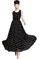 Demarkt® New Boho Women's Party Evening Polka Dots Dress Ball Gown Chiffon Vogue Maxi Sundress with Belt Cocktail/Club/Party Costume Casual Wear Black