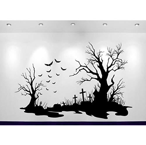 (Halloween Friedhof Szene Aufkleber Dekoration Wandaufkleber Sofa Hintergrund Dekor Abziehbilder Poster 84x56 cm)