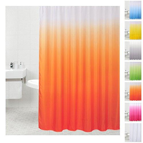 Duschvorhang, viele einfarbige Duschvorhänge zur Auswahl, Anti-Schimmel-Effekt (Orange)