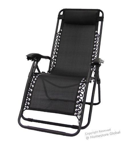 Chaise longue de jardin en textilène avec coussin détachable – Confortable, légère et design moderne, Noir