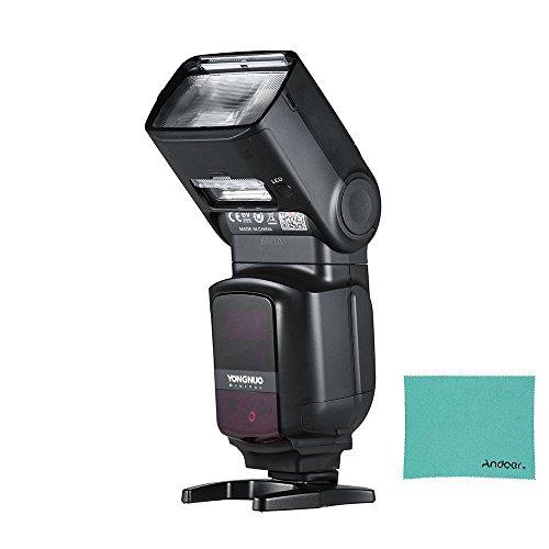 YONGNUO YN968EX-RT Wireless TTL Kamera Blitzlicht Master Flash Speedlite mit Eingebautem LED-Licht 1 / 8000s HSS mit Andoer Reinigungstuch für Canon 500D 550D 40D 1000D 1100D 1200D Yongnuo Flash