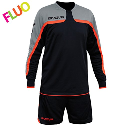 Givova, kit trafford, schwarz/orange fluo, M