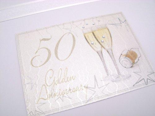 White Cotton Cards - Caja de recuerdo de celebración de bodas de oro (tamaño grande), diseño de copas de champán