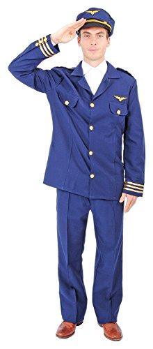Herren Kapitän Kostüm Pilot - Funny Fashion Pilot Kapitän Robert Kostüm für Herren Gr. 54