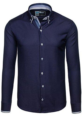 BOLF – Chemise casual – avec manches longues – BOLF 5805 – Homme Bleu foncé