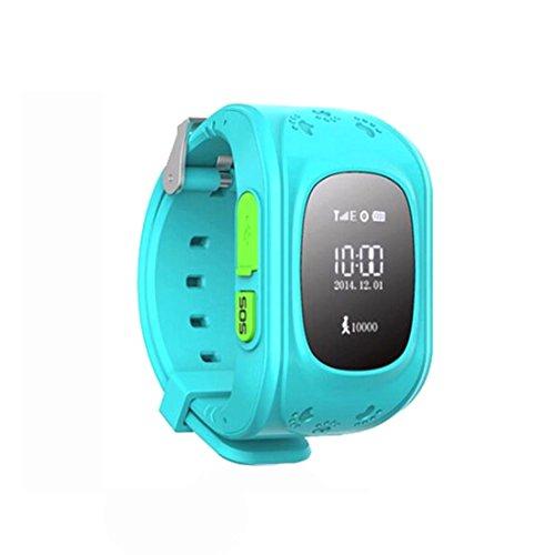 Amazing GPS Tracker Kinder Smartwatch Armbanduhr Telefon Antiverlust SOS Armband Blau