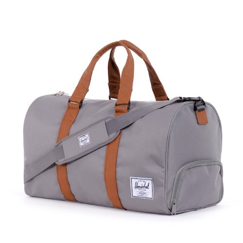 Herschel Novel Duffle, Bag, Tasche, 600D Poly, 00516, Black Crosshatch/Black Grey/Tan Synthetic Leather Duffle