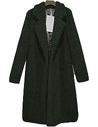 1556163ded0fd2 Aceshin Damen Winter Revers Parka schwarz Wollmantel Trenchcoat Mantel  Cardigan Plüschjacke Winter Jacke Outwear