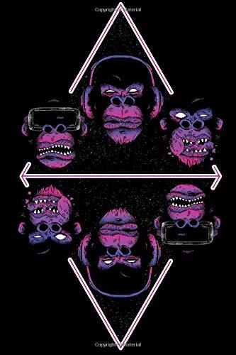 Notebook: Notebook - Notizbuch - Diary - Tagebuch / Three Wise Monkeys Iwazaru / drei weise Affen / VR Glasses / VR Brille / Lustiger Affe / Funny Monkey / 120 Pages, Blank
