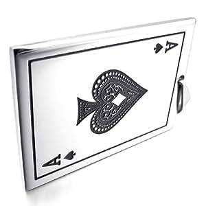 MunkiMix Acier Inoxydable Pendentif Collier Ton d'Argent Pique A Cartes Poker Homme ,58cm chaîne