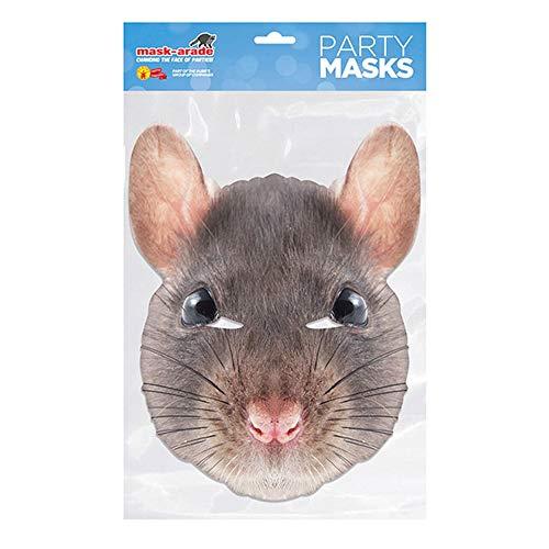 Maske Ratte Kostüm - empireposter Tier Maske - Ratte - hochwertiger Glanzkarton mit Augenlöchern - Größe ca. 30x21 cm