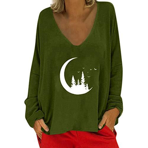 Lilicat Damen Langarmshirts Mode Casual Pullover V-Ausschnitt Drucken Bluse Tops Lose Lange Ärmel T-Shirts Baumwoll Winter-Shirt Mädchen Sport Oberteile Bequem Elegant Sweatshirts -
