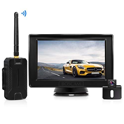 """Rückfahrkamera und Monitor Set BOSCAM K1 Wireless Einparkhilfe mit 14.4 cm/4.3\"""" Zoll LCD Farbdisplay Rear View Monitor und IP68 Wasserdichte Kamera für Auto, Bus, LKW, Schulbus, Anhänger"""