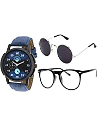 8e43c1a9f1 Y S UV Protected Unisex Sunglasses for Mens Women Boys and Girls Stylish  Combo with Watch