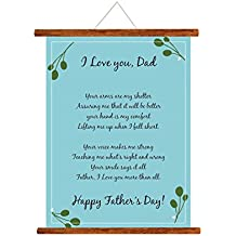 Yaya Cafe Fathers Day Greeting Cards Happy Fathers Day I Love Dad Message Scroll Card for Dad Wall Hanging Decor | Dad Birthday Gifts - 15x20 inches