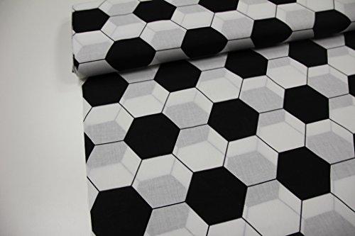 Qualität Baumwolle Stoff (Stoff / Meterware / ab 25cm / beste Baumwoll-Qualität / Baumwolle Fußball schwarz weiß)