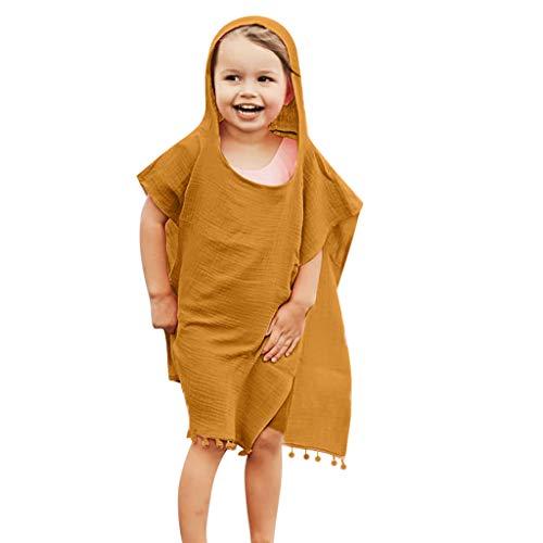 feiXIANG Mädchen Umhang Solide Quasten Kleidung Mantel Mit Kapuze Kleinkind Baby Kurzarm Hoodie (Gelb,80)