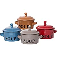 Ritzenhoff & Breker tazas de sopa Regina con tapa y asa, Juego de 4, 460ml cada uno, varios colores