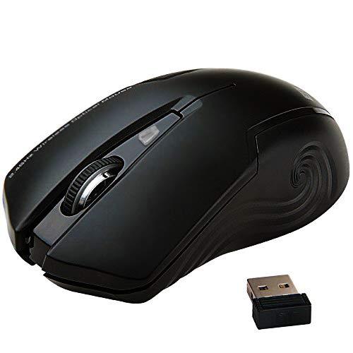 Uping® geräuschlose stumm ergonomische kabellose optische laser Maus mit Nano USB schnurlose Empänger kompatibel zu PC Mac Computer Notebook and Laptop 2.4 GHz 3 Justierbare CPI Level, 1600 CPI, 3 Tasten, 18-Monate Batterielaufzeit Schwarz