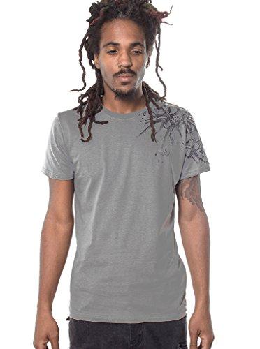 Herren T-Shirt mit Ostrich Steampunk Vogel Strauß Aufdruck - handgefertigt durch Siebdruck auf 100% Baumwolle - Street Habit Hellgrau